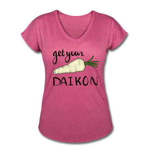 Get Your Daikon V-Neck - heather raspberry