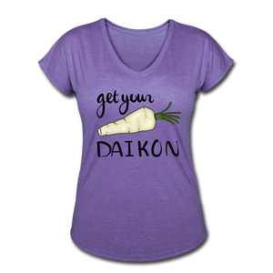 Get Your Daikon V-Neck - purple heather