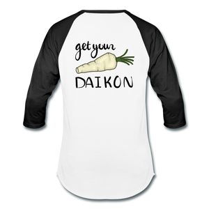 Get Your Daikon Baseball T - white/black