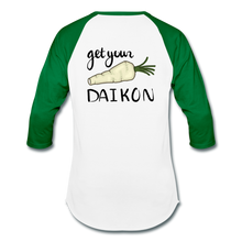 Load image into Gallery viewer, Get Your Daikon Baseball T - white/kelly green