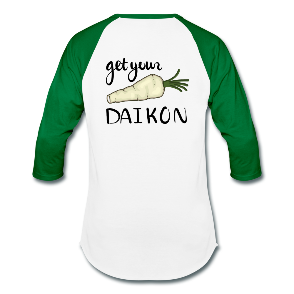 Get Your Daikon Baseball T - white/kelly green