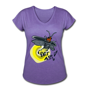 Dat Ass! Lightning Bug V-neck - purple heather