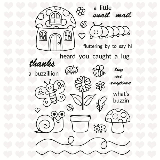 Insect Mushroom House Decorative Clear Stamps