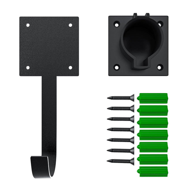 Megear - EV Charger Holster Dock and J-Hook | Type 1 | SAE 1772 EV | Wall-Mount Electric Vehicle Connector