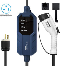 Load image into Gallery viewer, Megear 2021 Gen 2 Updated Version | Level 2 EV Charger (240V, 16A, 25ft) | Portable EVSE Home Electric Vehicle Charging Station | NEMA 6-20 Plug - MEGEAR