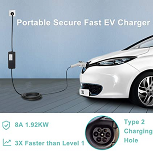 Megear - Type 2 EV Charger Cable | 1 Phrase 8A UK 3 pin Plug Charging Box Electric Vehicle Charging Station Car EVSE 1.92kw | 25ft | IEC62196 Standard - MEGEAR