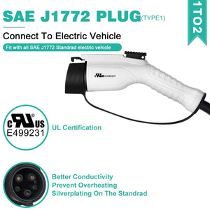 Megear - EV/Electric Car Charging Cable Type 1- Type 2 | 16Amp/32Amp | 5 Meters - MEGEAR