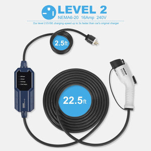 Megear 2021 Gen 2 Updated Version | Level 2 EV Charger (240V, 16A, 25ft) | Portable EVSE Home Electric Vehicle Charging Station | NEMA 6-20 Plug - MEGEAR