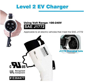 Megear - Level 2 EV Charger(240V, 16A, 25ft), Portable EVSE Home Electric Vehicle Charging Station(L14-30 Plug)