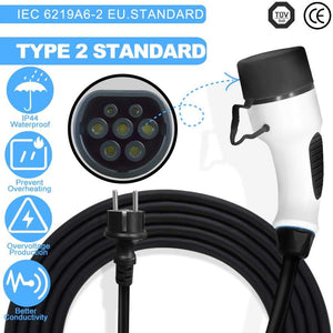 Megear - Type 2 EV Charger Cable | 1 Phrase 6/8/10/16A Adjustable | Schuko 2 pin Euro Plug Charging Box Electric Vehicle Charging Station Car EVSE | 25ft | IEC62196 Standard - MEGEAR