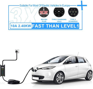 Megear - Type 2 EV Charger Cable | 1 Phase 6/8/10A Adjustable | UK 3 pin Plug Charging Box Electric Vehicle Charging Station Car EVSE | 25ft IEC62196 Standard - MEGEAR
