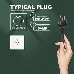Megear - Type 2 EV Charger Cable | 1 Phrase 16A Schuko 2 pin Euro Plug Charging Box Electric Vehicle Charging Station Car EVSE 3.8kw | 25ft | IEC62196 Standard - MEGEAR