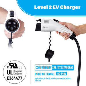 Megear - Level 2 EV Charger | NEMA10-30 Plug | Adapter for NEMA 5-15 | Portable | Indoor Use - MEGEAR