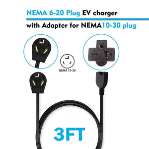 Megear - Universal Power Cord | 3 Feet | NEMA 6-20 to NEMA 10-30 | Adapter For EV Charger