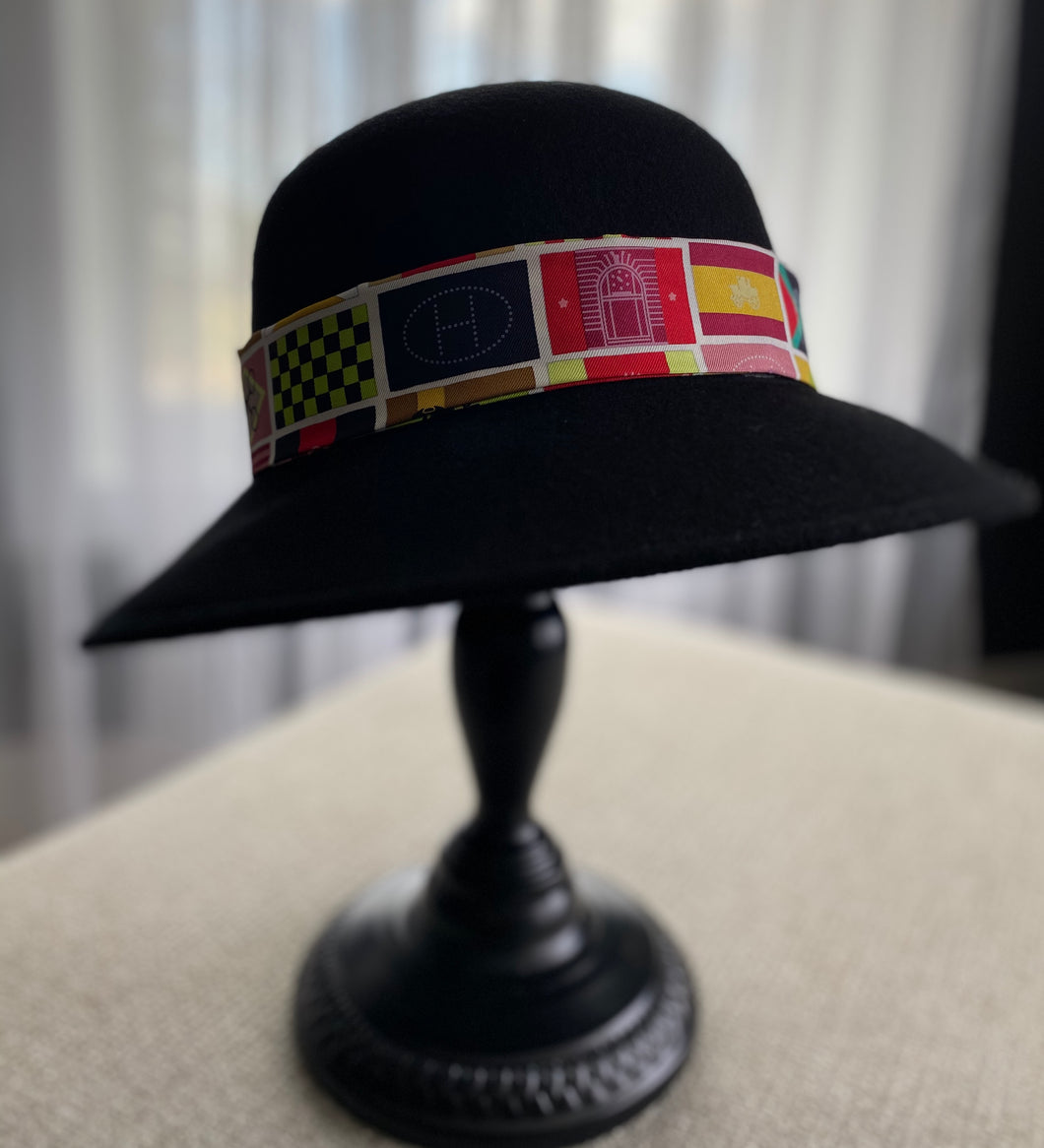 Hermès Scarf Wool Trench Hat (HAT901)