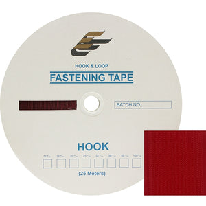 "Fastening Tape 2"" ( 50 mm ) Hook Red Sew On Jef Brand 1 Roll 25 Meters"