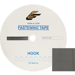 "Fastening Tape 2"" ( 50 mm ) Hook Grey Sew On Jef Brand 1 Roll 25 Meters"