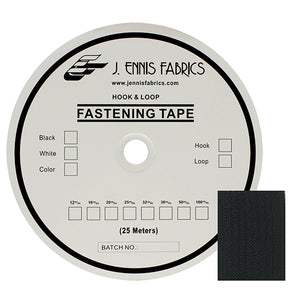 "Fastening Tape 1-1/2"" ( 38 mm ) Hook Black Sew On Jef Brand 1 Roll 25 Meters"