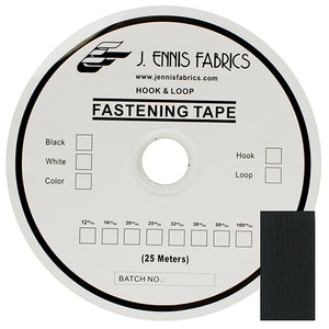 "Jef Fastening Adhesive Tape Pressure Sensitive 1"" Hook Black 1 Roll 27 Yards"