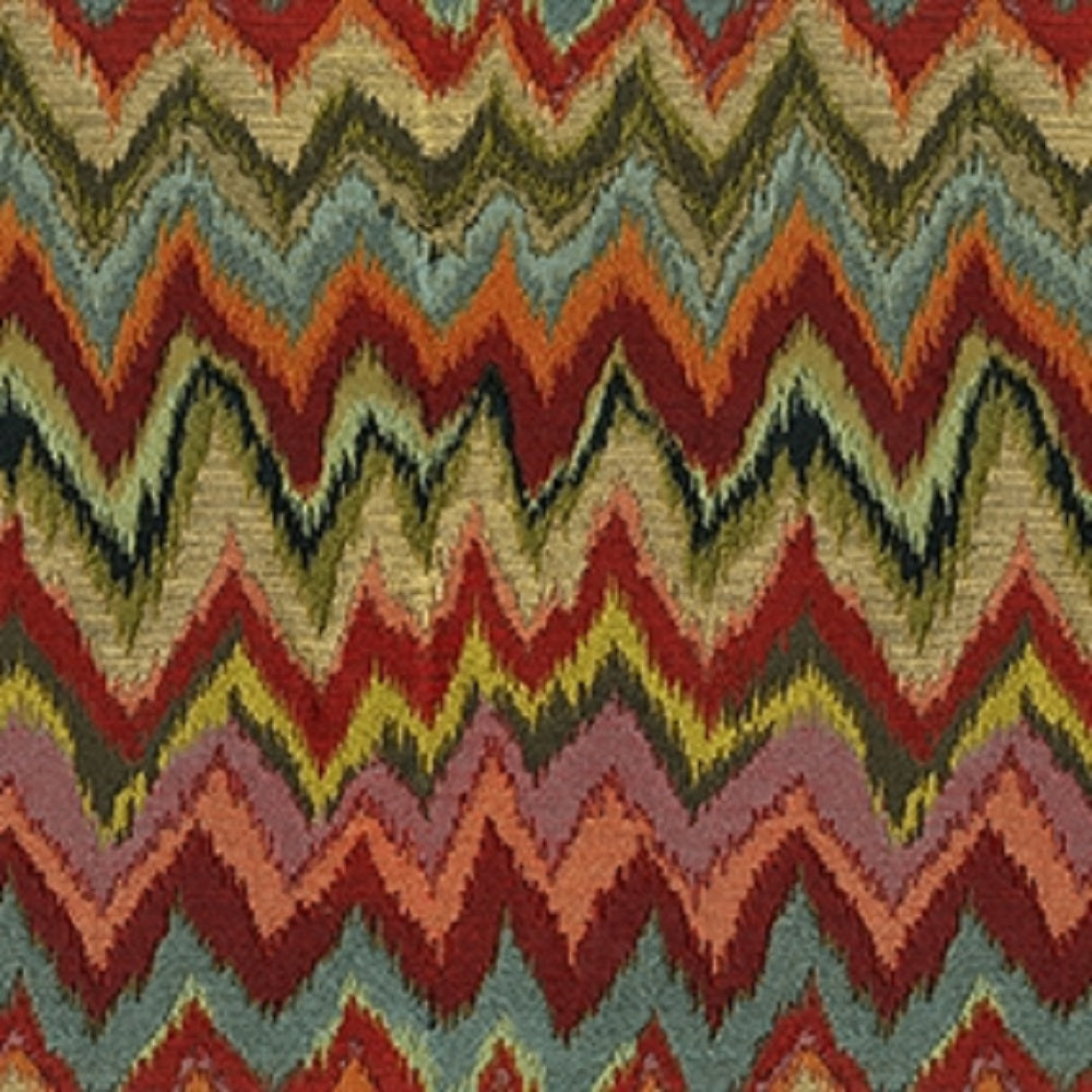 Captain Upholstery Fabric Flame Stitch Design Woven Jacquard 4 Colors