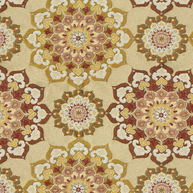 Walsh Upholstery Fabric Multicolored Medallion Woven Jacquard 4 Colors