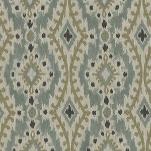 Whistler Upholstery Fabric Chenille Medallion Panel with Ikat Effect Woven Jacquard 5 Colors