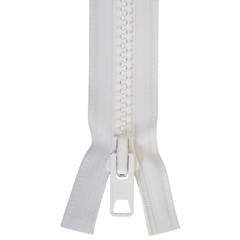 Zippers - # 10  YKK Pre-Made Zippers Locking White Finished Zippers Double Pull Tab Various Sizes