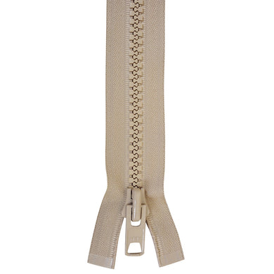 Zippers - # 10  YKK Pre-Made Zippers Locking Beige Finished Zippers Double Pull Tab Various Sizes