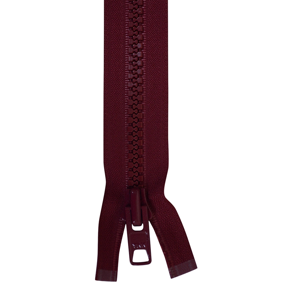 Zippers - # 10  YKK Pre-Made Zippers Locking Burgundy Finished Zippers Double Pull Tab Various Sizes