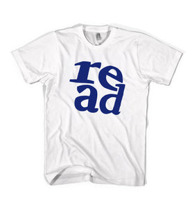 """READ"" Tee - Youth & Adult - White / Navy"