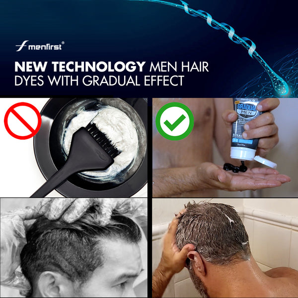 New technology Men hair  dyes with gradual effect