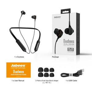 Duobees – Bluetooth 5.0 Neckband Headphones With Dual Drivers - Bluetooth Earphones - jabeesstore - jabeesstore