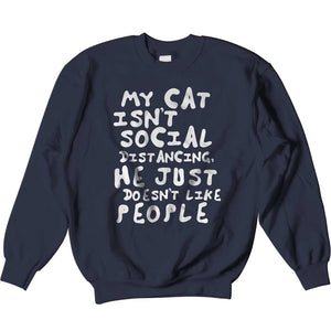 Men's Women's Social Distancing Cat Sweatshirt