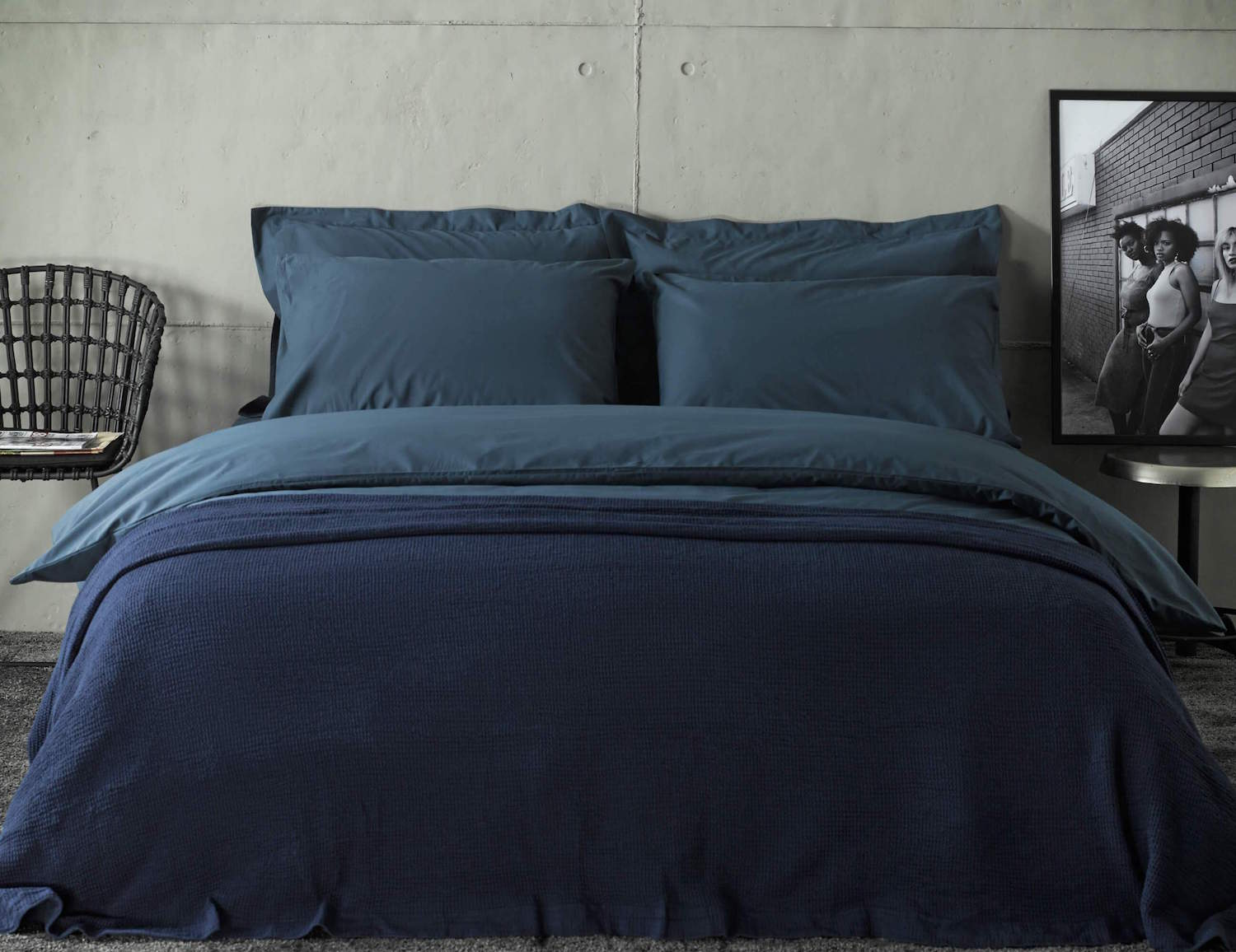 navy duvet set with bedspread and extra pillowcases