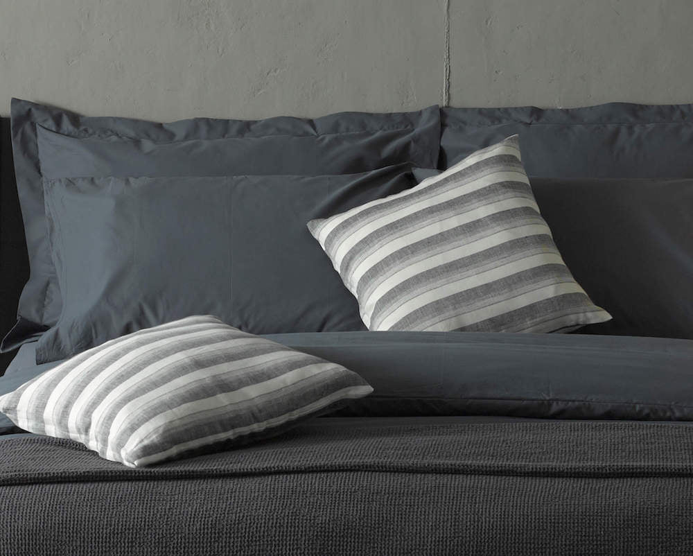 dark grey luxury bedding with premium scatter cushions