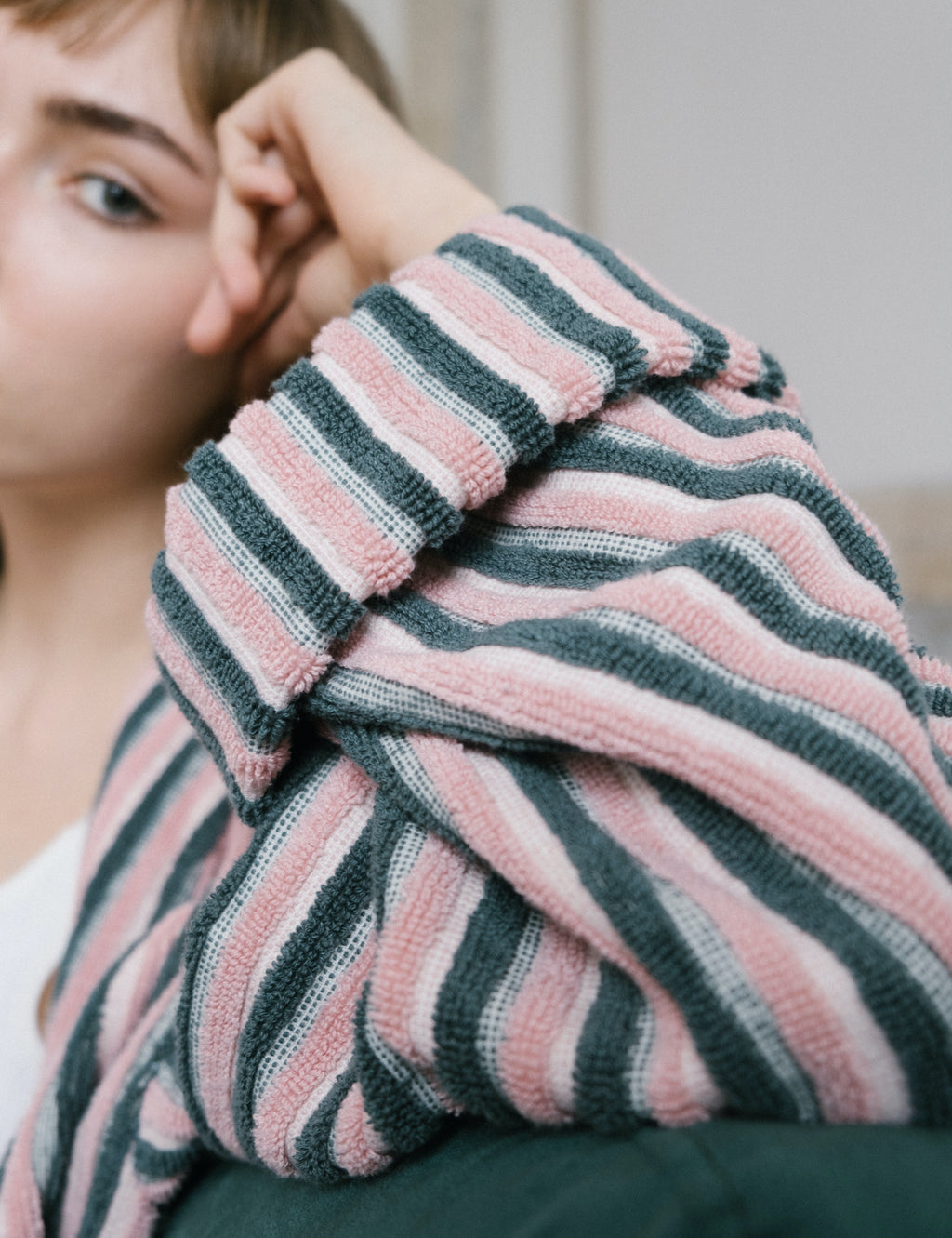 Pink Striped Bathrobe