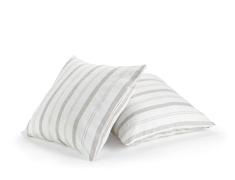 white linen decorative scatter cushion with beige stripes