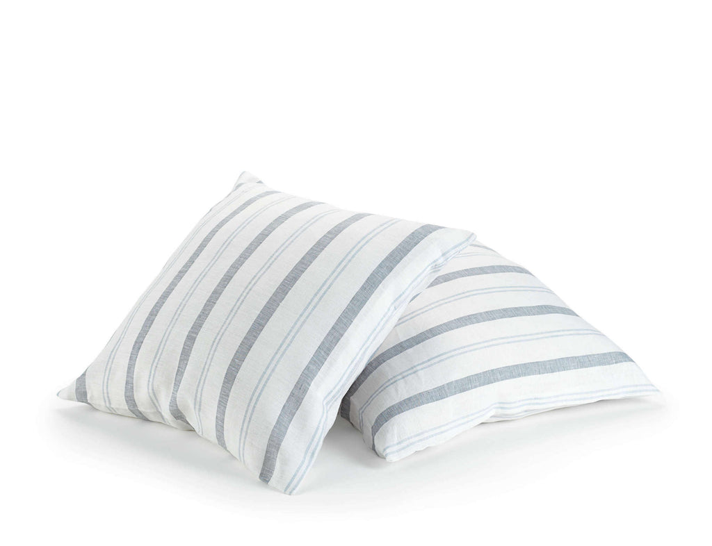 white linen decorative scatter cushion with blue stripes