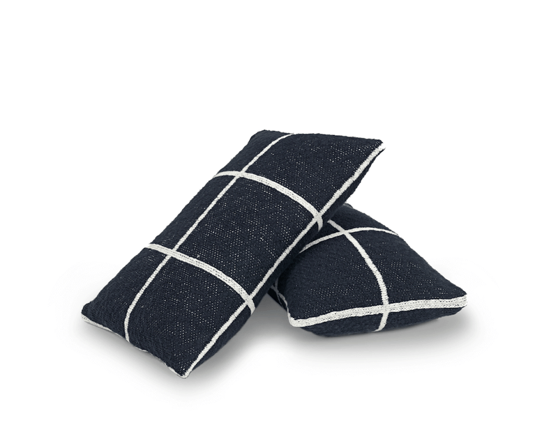 navy checkered scatter cushions