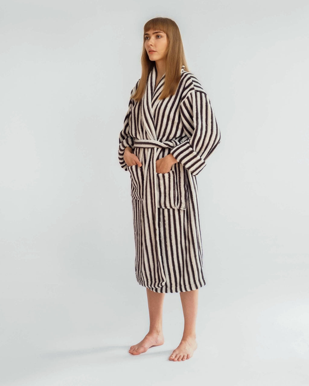 Coffee & White Striped Bathrobe