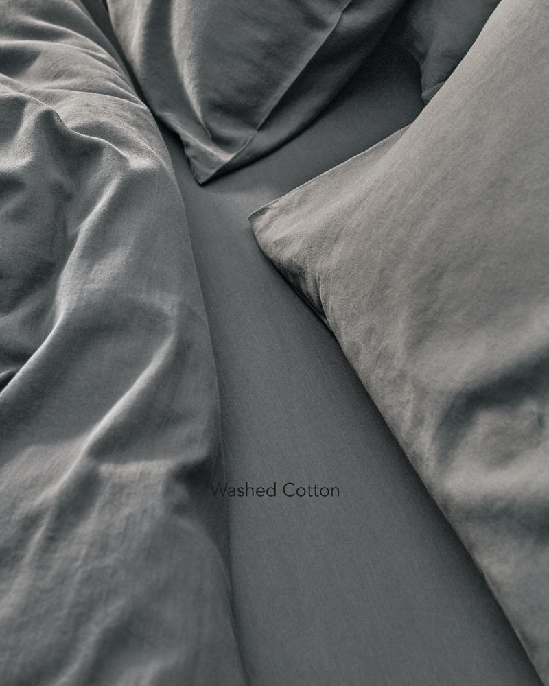 dark grey washed cotton bedding texture