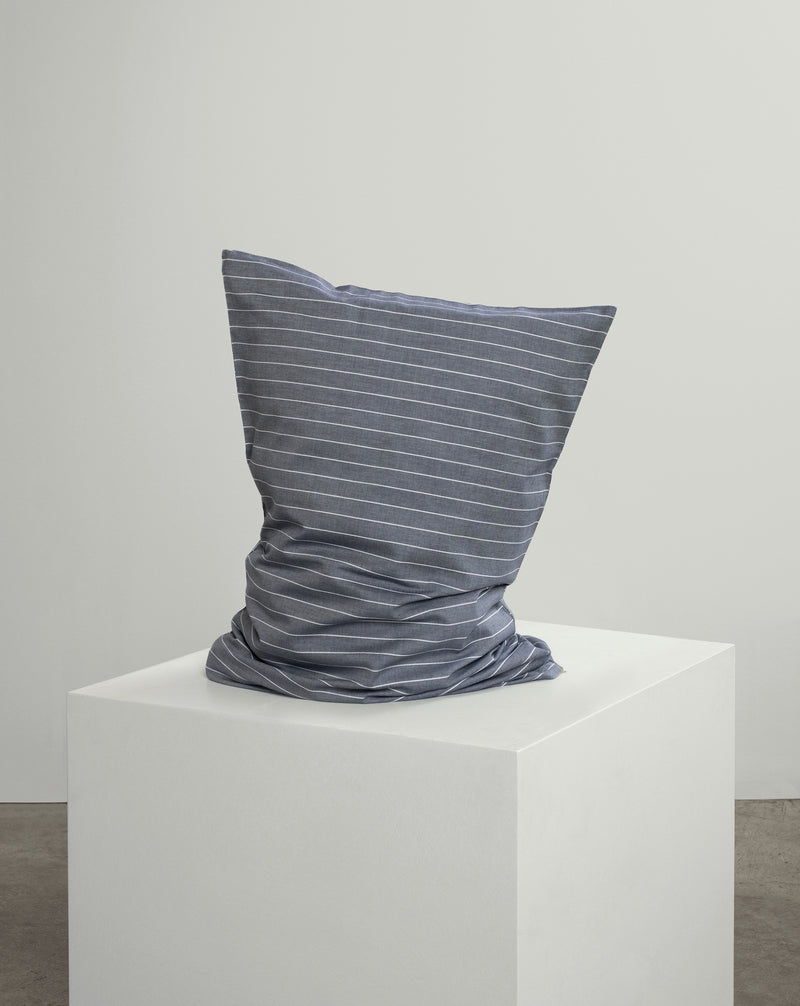 Graphite Blue Striped Pillowcase Pair