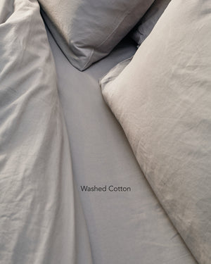 silver grey washed cotton bedding