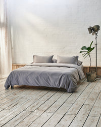 silver grey washed cotton bedding texture