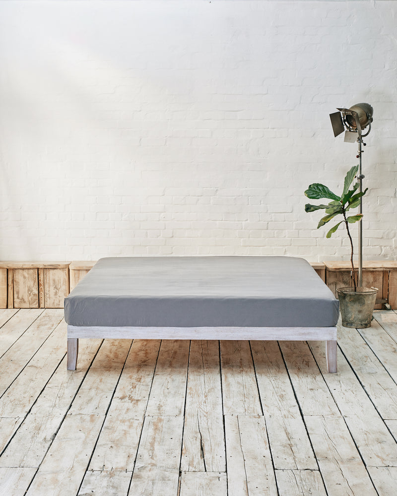 silver grey cotton fitted sheet