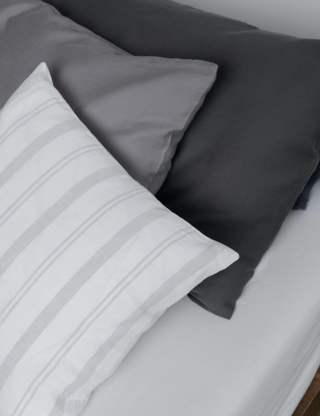 Grey Striped Linen Cushions