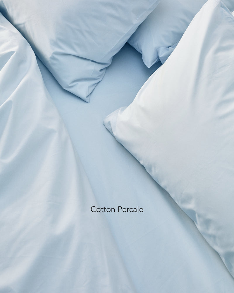 light blue cotton percale bedding texture