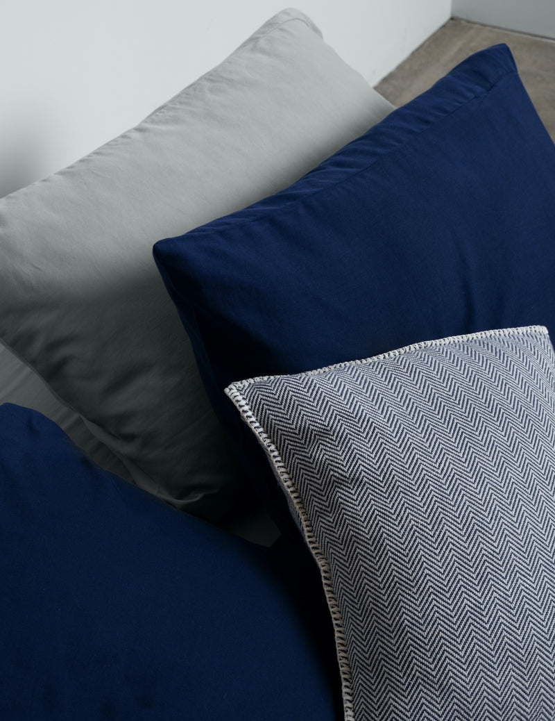 Navy Herringbone Cushions