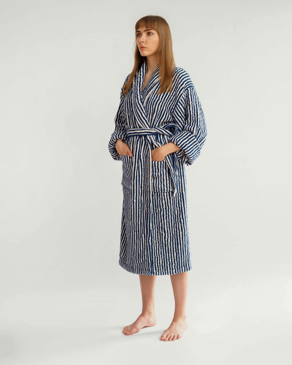 Navy & White Striped Bathrobe