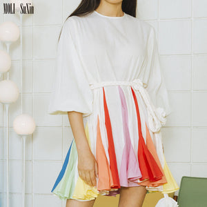 Color-block Cotton Mini Dress